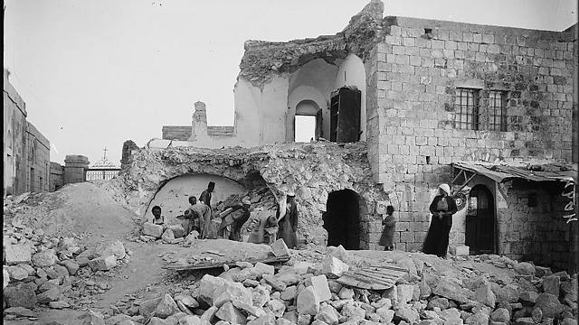 Damage to a house on the Mount of Olives in Jerusalem following the 1927 earthquake