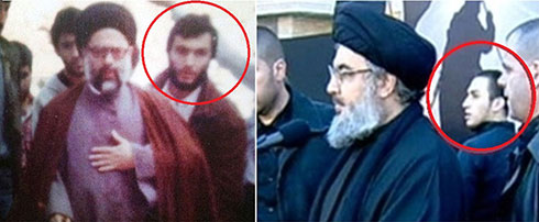 Jihad appears near Khamenei (right) and his father Imad in Nasrallah's entourage during his youth.
