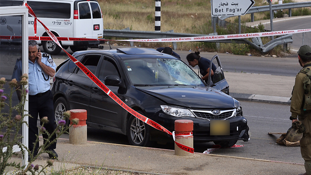 The car driven by the suspected attacker (Photo: Gil Yohanan)