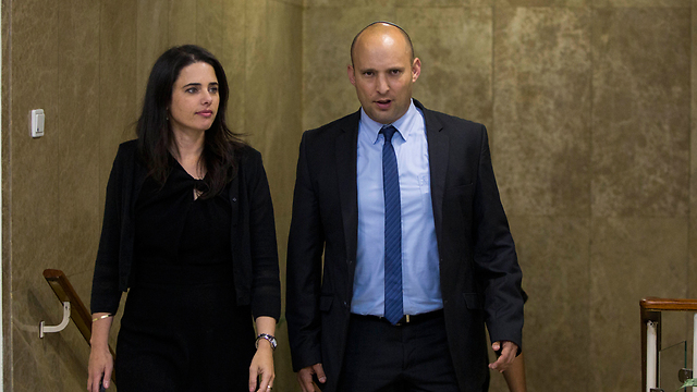 Justice Minister Shaked and Education Minister Bennett who objected to the decision (Photo: Yonatan Sindel/Flash90) (Photo: Flash90)