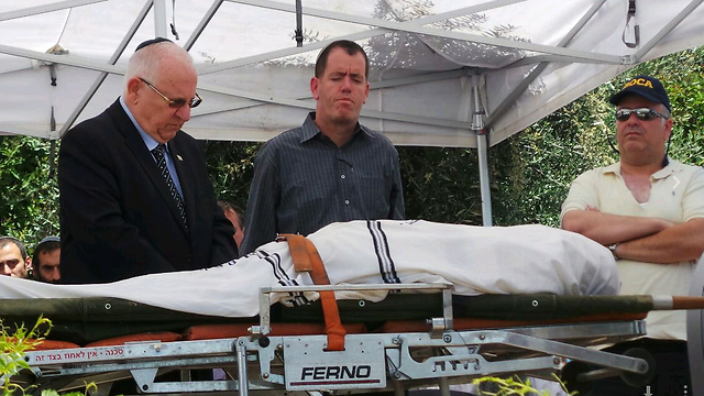 President Rivlin at Levinger's funeral (Itay Blumenthal)