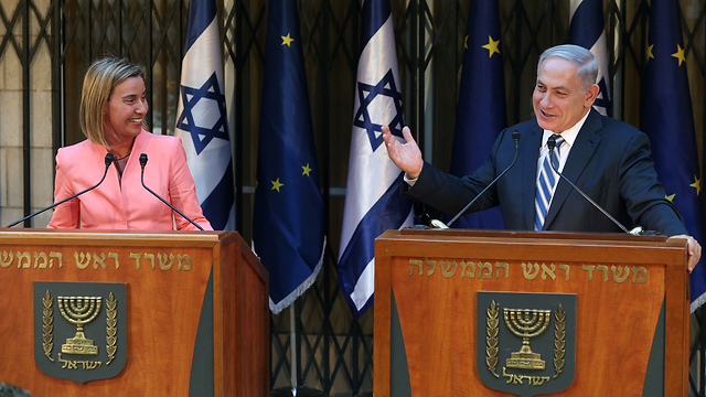 Netanyahu, right, meets with EU foreign policy chief Federica Mogherini (Photo: Amit Shabi)