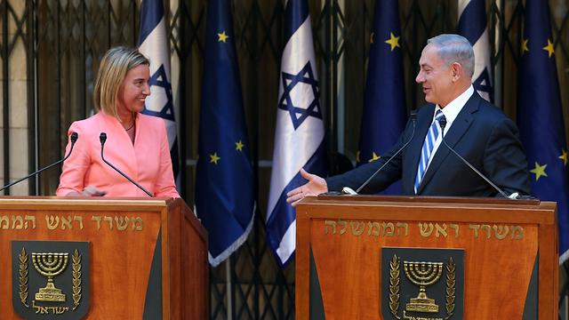 EU High Representative for Foreign Affairs Federica Mogherini and Prime Minister Benjamin Netanyahu in Jerusalem (Photo: Amit Shabi)