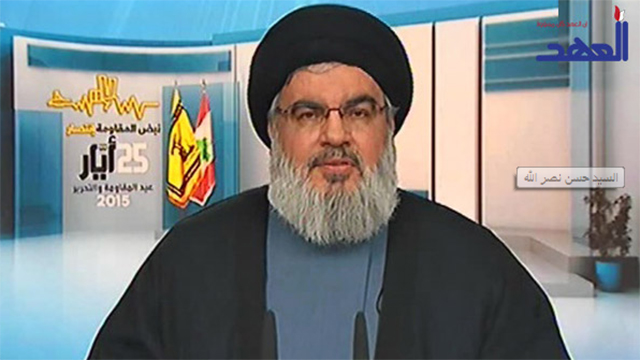Hassan Nasrallah making a recent speech to mark the anniverdsary of Israel's withdrawal from Lebanon