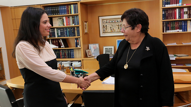 Justice Minister Shaked meets with Supreme Court President Naor (Photo: Justice System's PR)