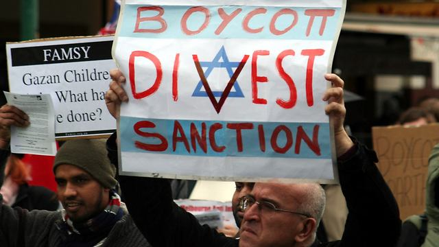 BDS supporter at a protest (Photo: Reuters) (Photo: Reuters)