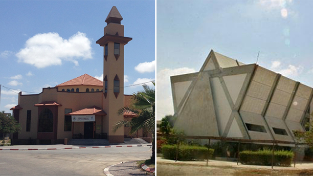 Where a mosque stands today, a decade ago was the Neve Dekalim yeshiva (Photo: Maurizio Molinari, AP)