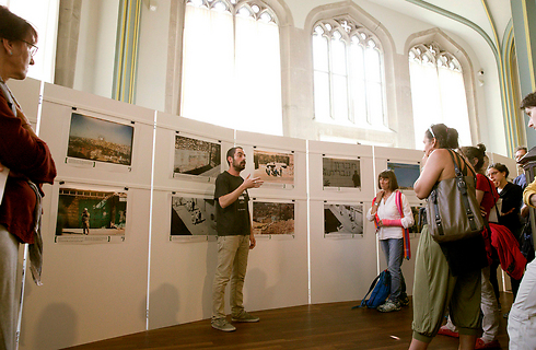 A Breaking the Silence exhibition of photos taken by IDF soldiers (Photo: Reuters)