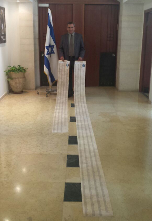 The scrolls with the French olim names (Photo:Zed Fillman)