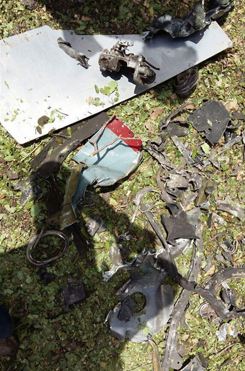 Remains of crashed aircraft in Lebanon's Bekaa Valley