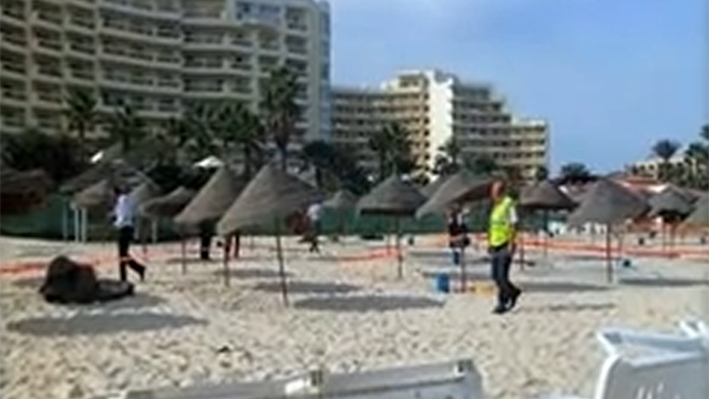 The same beach being roped off after Friday's attack.