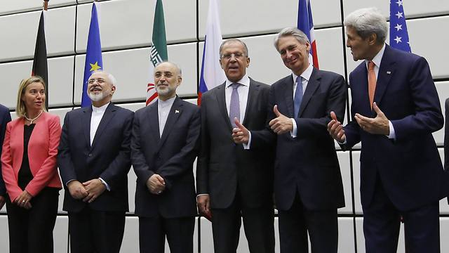 Foreign ministers of Iran and world powers after agreement signed (Photo: AP)