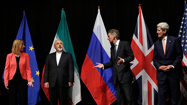 Announcing the nuclear deal in July: ‎Mogherini, Zarif, British Foreign Secretary Hammond and Kerry (Photo: AP) (Photo: AP)