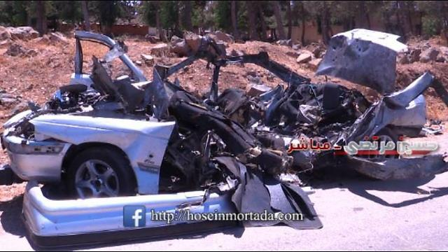 Destroyed rocket launchers' vehicle in Syria