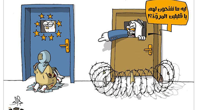 Arab caricature: Refugees knocking on Europe's door, which doesn't want them, as other Arab nations build fences and yell at Europe: 'Why won't you open the door for them?'
