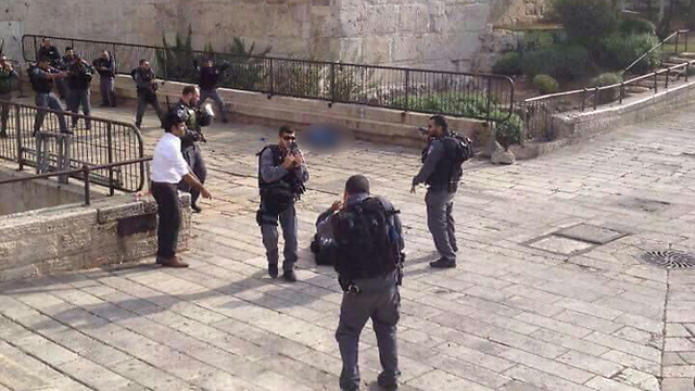 Security forces at the scene of the attack.