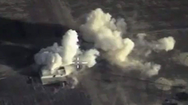 A Russian bomb strikes an ISIS weapons compound. (Photo: EPA)