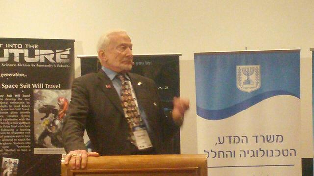Buzz Aldrin at the International Astronautical Congress in Jerusalem (Photo: Barel Ephraim)