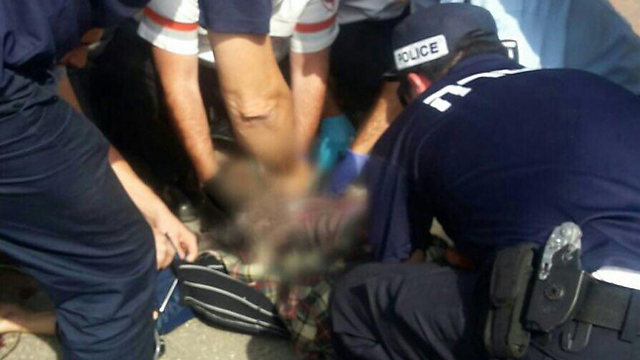 Perpetrator receives medical care after being neutralized by police (Photo: Magen David Adom spokesperson) (Photo: MDA Spokesperson's Unit)