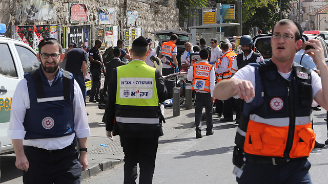 The scene of a stabbing and vehicular attack in Jerusalem (Photo: Gil Yohanan)