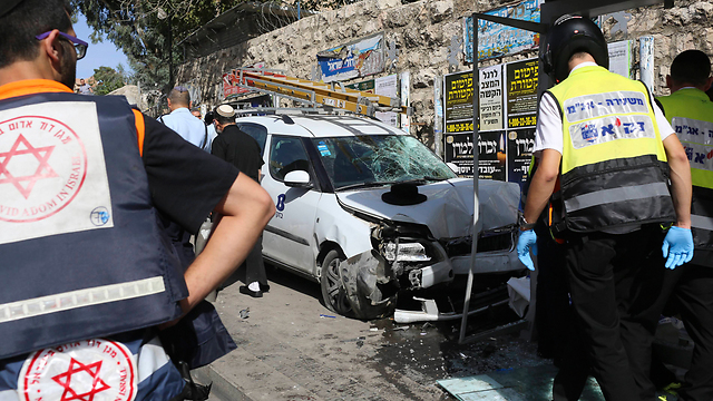 The scene of Tuesday morning's stabbing and run-over attack in Jerusalem. (Photo: AP)