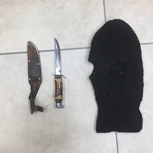 A knife and a ski mask found in the home of a youth suspected of attacking Rabbi Arik Ascherman. (Photo: Police Spokesperson's Unit)