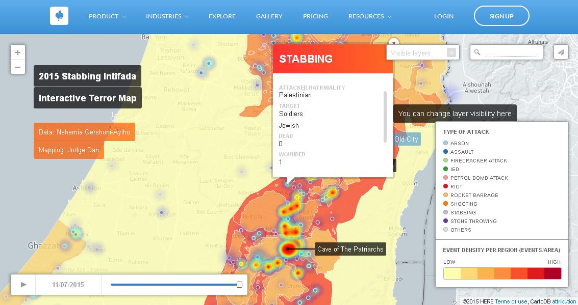 Interactive map of violent incidents, created by Nehemia Gershuni-Aylho and Judge Dan. (Screenshot)