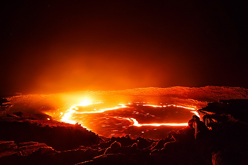 Erta Ale volcano in Ethiopia, the only one with permanent pools of lava (Photo: Erez Marom)