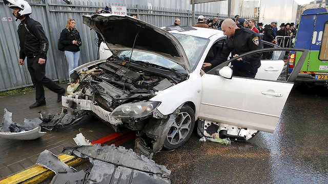 Scene of vehicular attack in Jerusalem on Monday (Photo: Reuters)