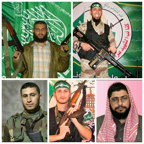 The five Hamas militants who guarded Shalit, all of whom have been killed. Clockwise from top-left: Sami Hamida, Khaled Abu Bakra, Abdallah Lubbad, Mohammed Daoud and Abed el-Rahman Mubasher.