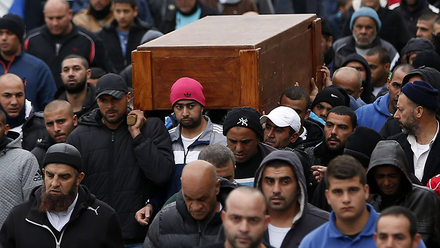 Funeral of Amin Shaban, who was murdered by a terrorist who killed 3 other people in Tel Aviv. (Photo: AFP)