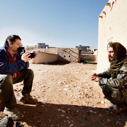 Tzur Shezaf talking to Yohan, the commander of the Syriac forces.