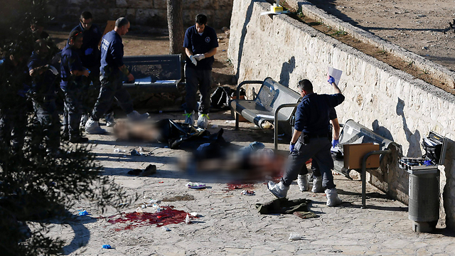 Scene of the combined terror attack at the Damascus Gate in Jerusalem (Photo: AFP)