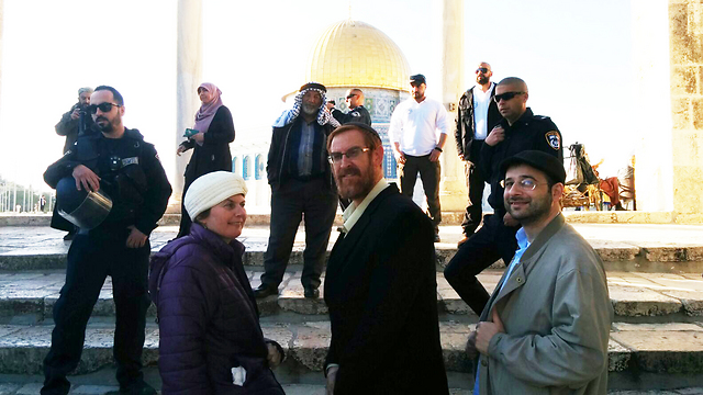 Glick visiting the Temple Mount after being shot (Photo: Arnon Segal) (Photo : Arnon Sega)