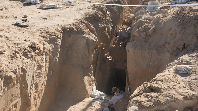 An entry into one of Hamas's tunnels found by the IDF (Photo: IDF Spokesman's Office)