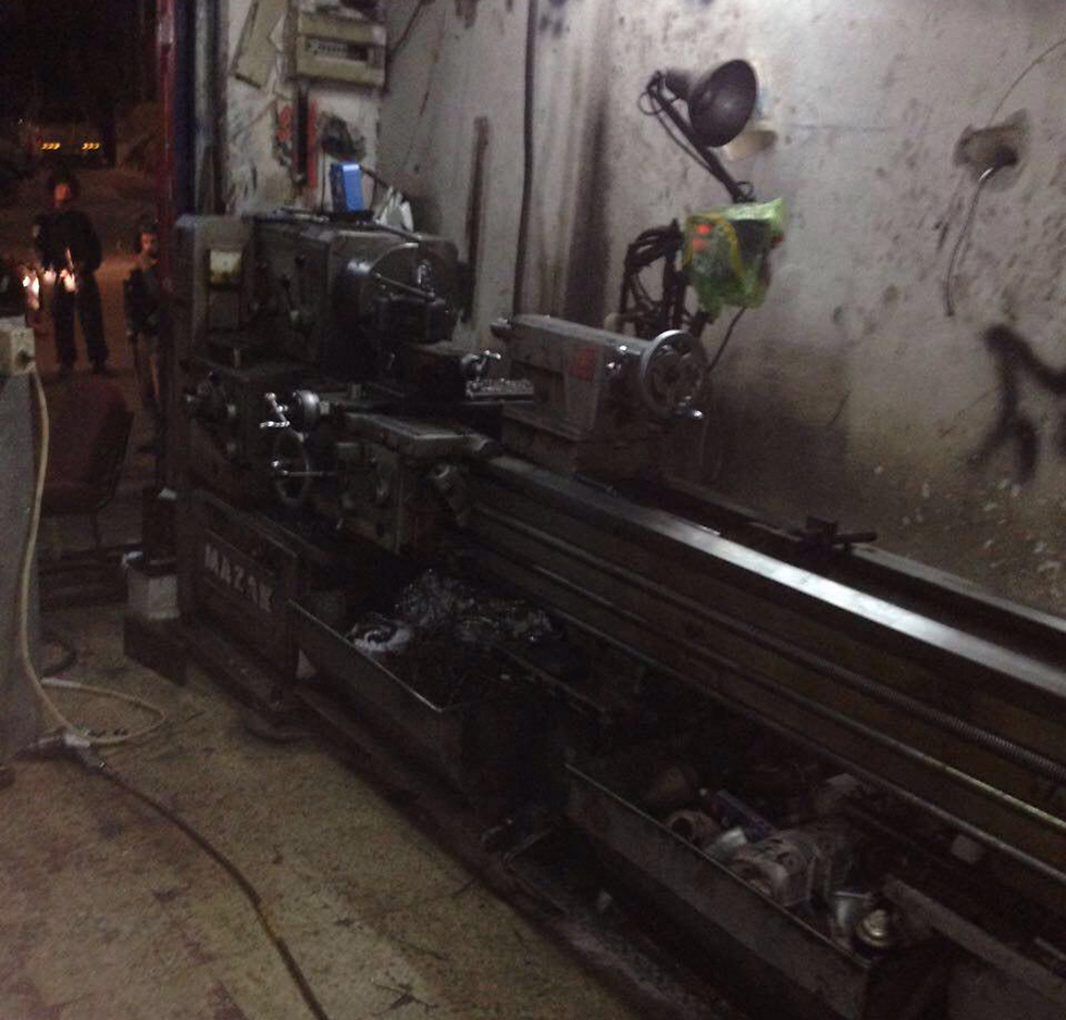 One of the lathes found in Abu Dis (Photo: Police)