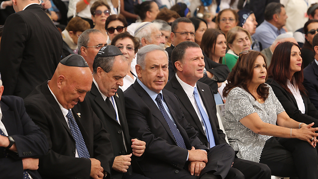 Prime Minister Netanyahu, center, along with Knesset Speaker Edelstein, to the PM's left, and Minister Miri Regev, far right (Photo: Gil Yohanan)