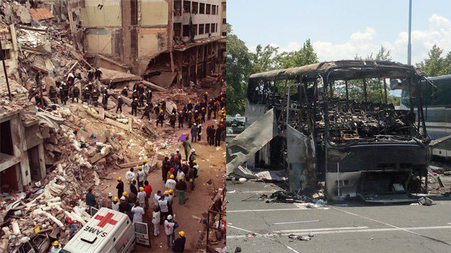 Terror attack in Buenos Aires (L) and Burgas (Photo: AP)