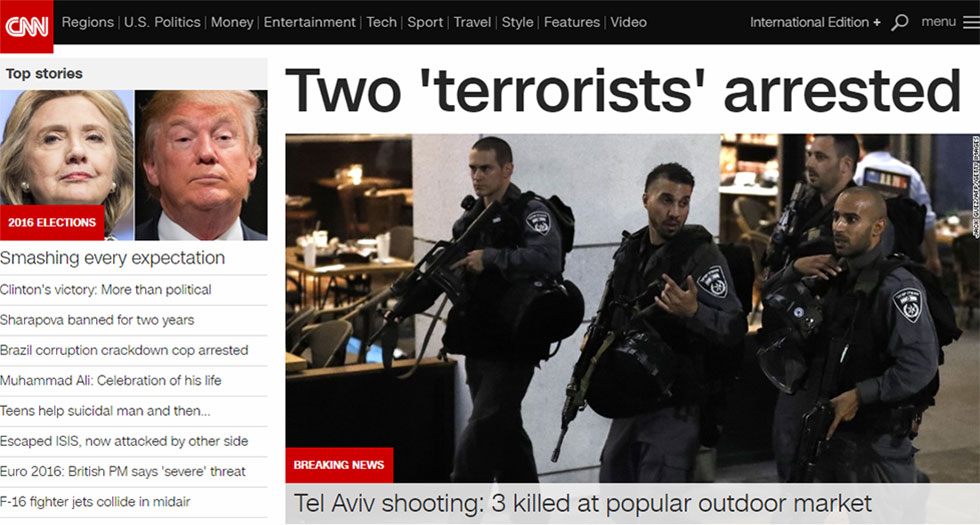 CNN coverage of Tel Aviv terror attack
