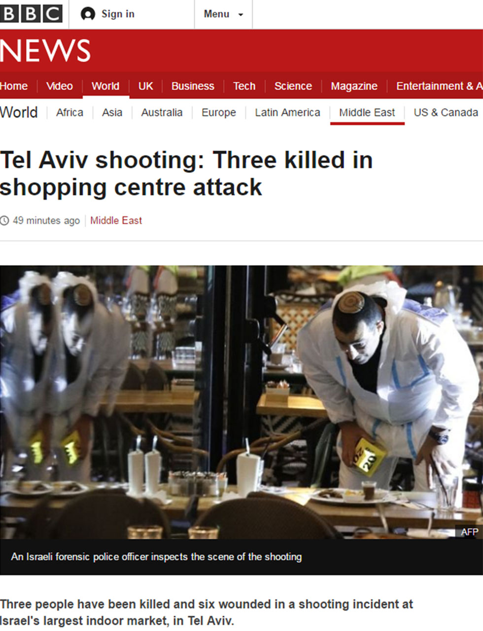 BBC coverage of Tel Aviv terror attack