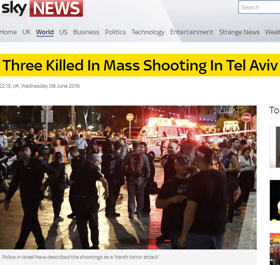 Sky News coverage of Tel Avivi terror attack
