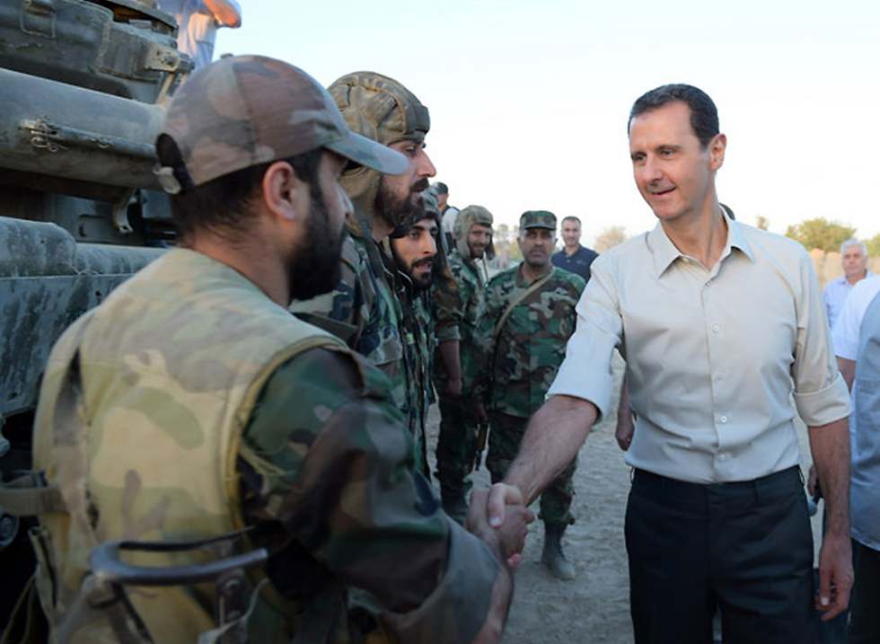 Bashar Assad visiting Syrian soldiers on the frontlines.