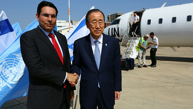 With outgoing UN Secretary-General Ban Ki-moon. 'We are not happy with everything he did, but deep inside he knows the facts and understands what it means to be the only democratic state in such a region' (Photo: Avi Dodi)