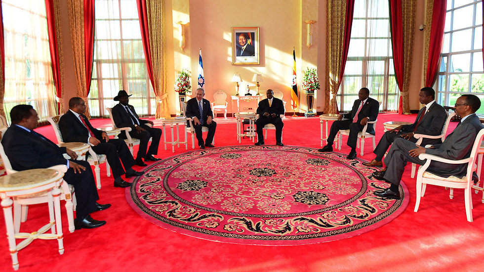 """Netanyahu meets with the leaders of seven African states (Photo: Kobi Gideon GPO) (צילום: קובי גדעון, לע""""מ)"""