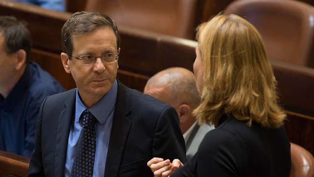 Opposition leader Isaac Herzog and co-Zionis Union leader Tzipi Livni (Photo: Yoav Dudkevitch)