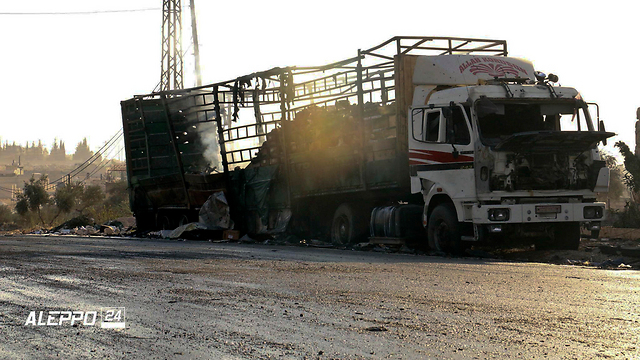 Trucks leading humanitarian aid to Aleppo who came under attack (Photo: AP)