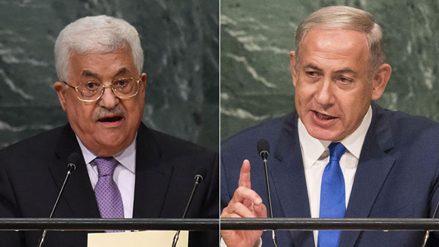 Prime Minister Netanyahu (R) and Palestinian President Mahmoud Abbas address the UN General Assembly (Photo: AFP) (Photo: AFP)