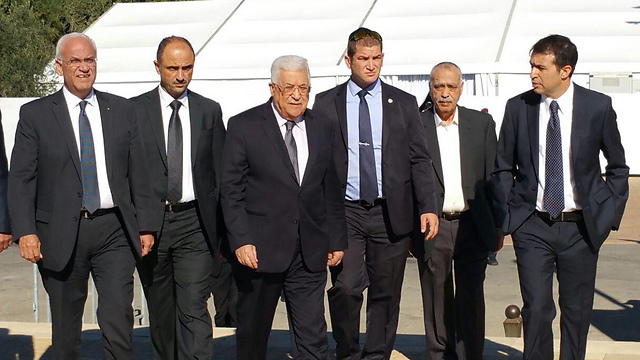The Palestinian delegation, led by President Abbas (Photo: Idan Arbelly)