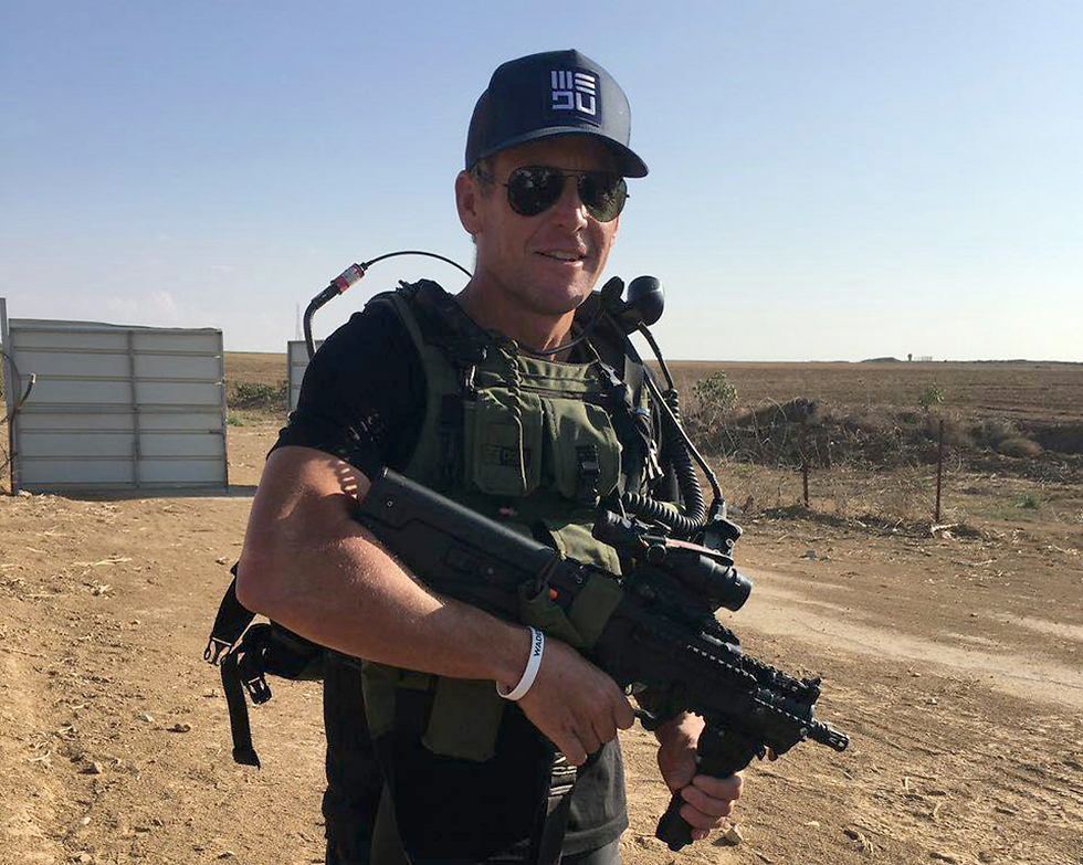 Armstrong today outside Gaza (Photo: OR movement)