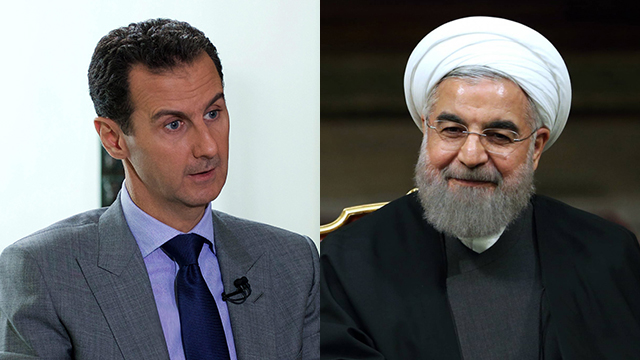 Syrian President Assad and Iranian President Rouhani (Photos: AP, EPA)